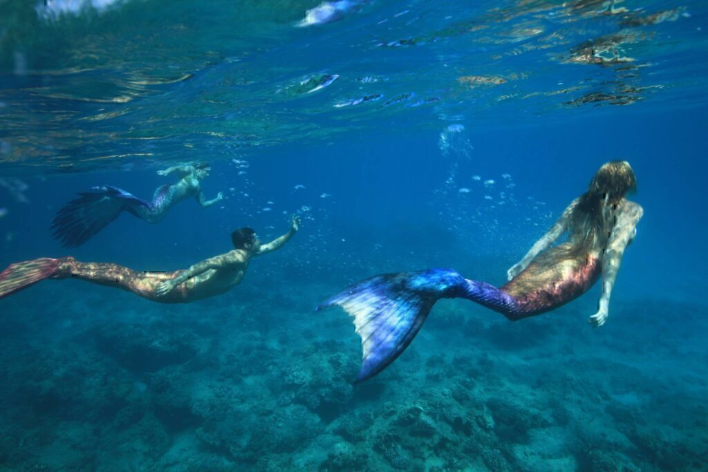 Three mermaids swimming just below the surface of the water.