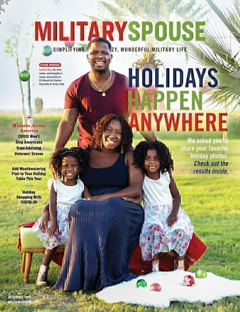 The cover of the December Military Spouse Magazine!!